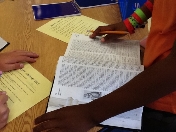 Another photo from our scavenger hunt.  The fifth graders needed to find a word in the dictionary and write down the page number.