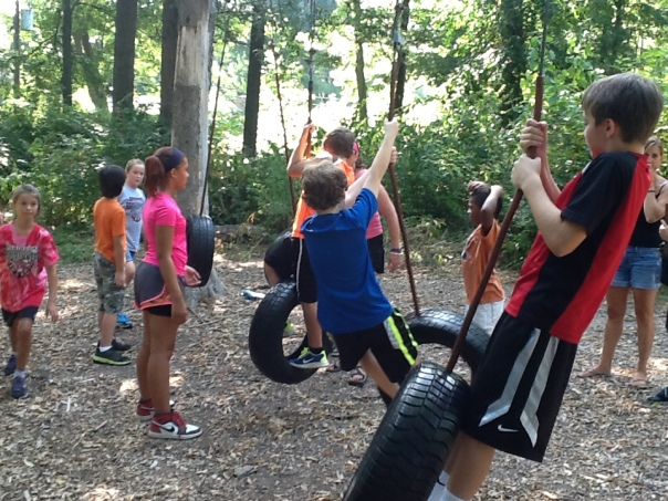 One of the stations at the Ropes Course!  Swing on those tires!
