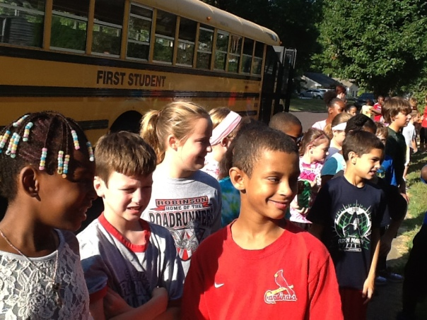Some very excited fifth graders after getting off the bus at Westchester!