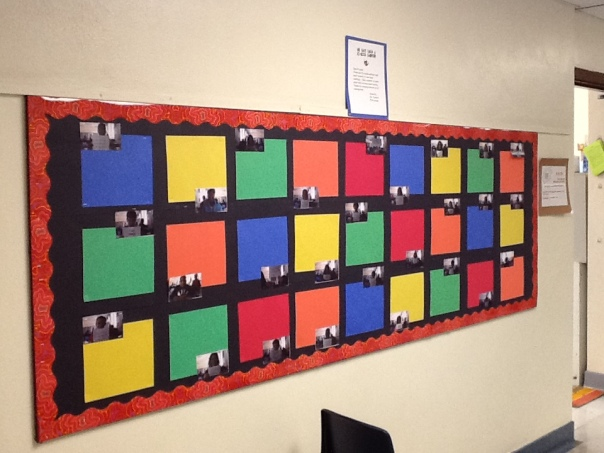 Each student has a picture next to a space to post their thoughts about the most recent book they read.