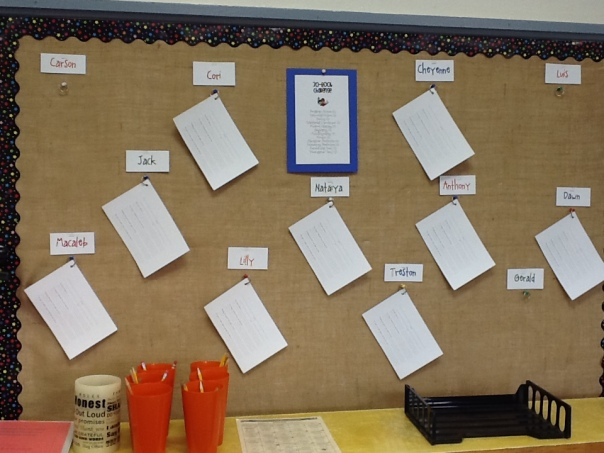 This is the set-up we have inside the classroom where each student will post the collection of books he or she has read for the book challenge.