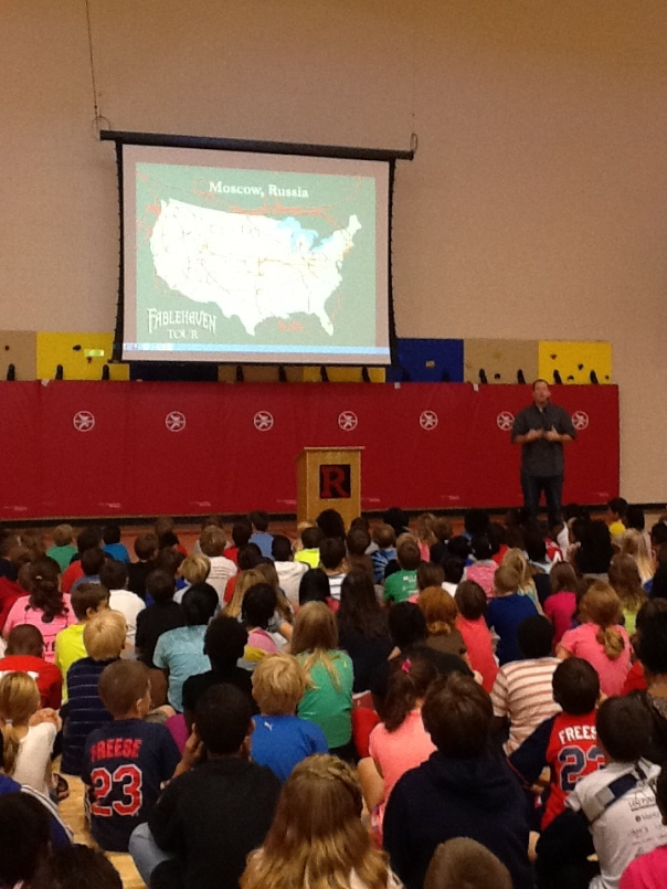 Mr. Mull showed the children a map of everywhere he travels to speak about his books.
