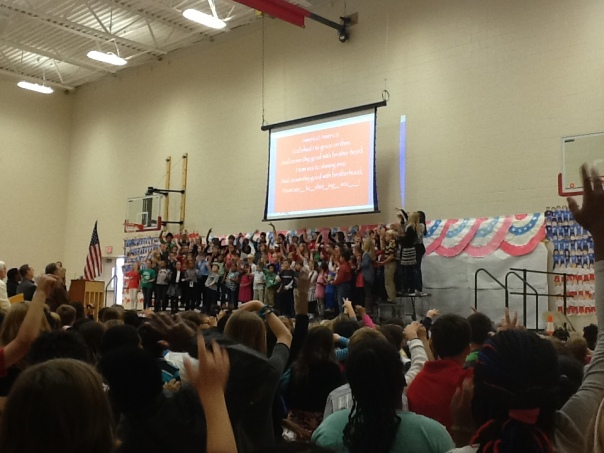 At the end of the assembly, the entire group of students and adults sang a patriotic song together.  It was really beautiful.