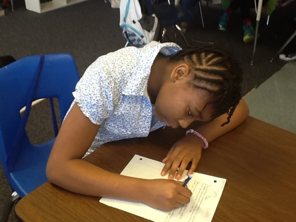 Here is Nataiya creating a nonfiction piece for an on-demand writing prompt.