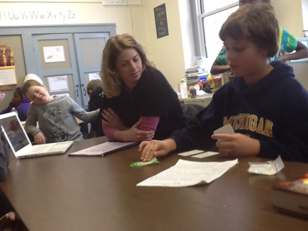 Here is Jack practicing his student-led conference with me - in front of the WHOLE class.  What a brave fifth grader!