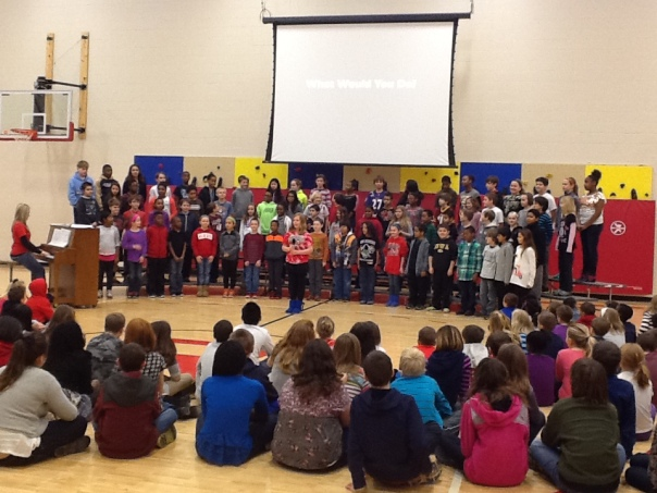 Here is the entire fifth grade performing for the school.