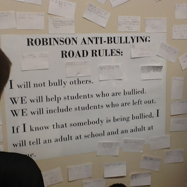 The Robinson Anti-Bullying Road Rules are in action at our school.