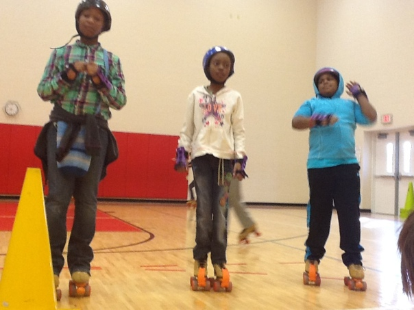 We did the Hokey Pokey together . . . on our skates!