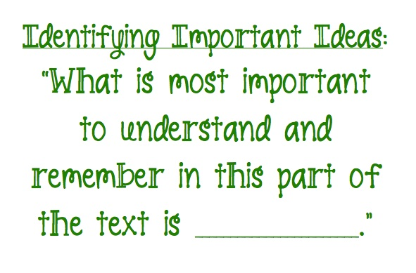 We use this prompt often as we identify important ideas in a text.