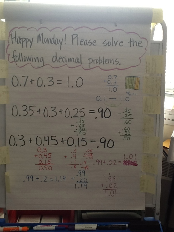 We talked about strategies to use when adding decimals.