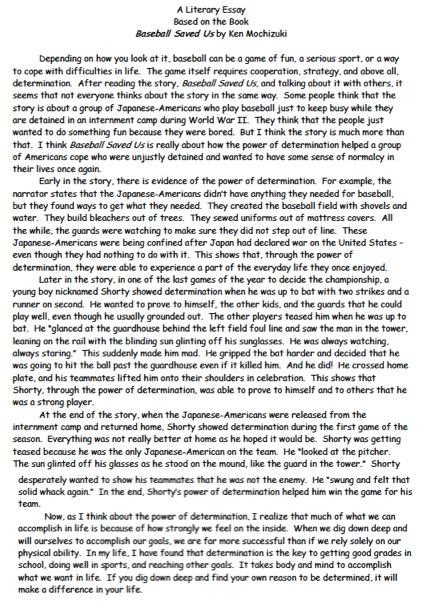 Here is an example of a literary essay about a book we read this week.  Click on the photo to make it larger.