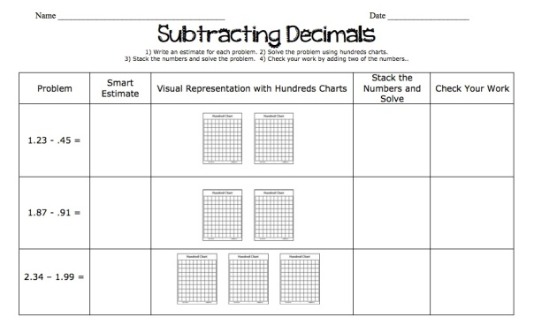 Here is an example of some of the decimal work we did when we were subtracting decimals this week.