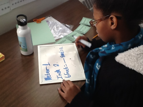 Here is a picture of Winter working on a conversion problem from an activity with task cards.