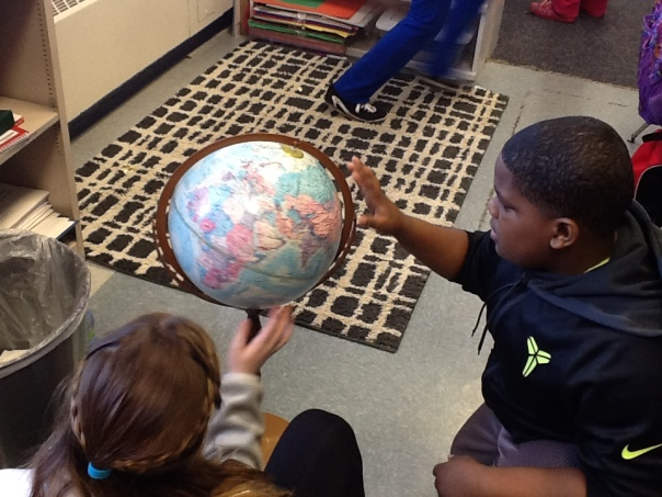 As children complete the WebQuest, they need to explore possible habitats for their animal.  I love seeing kids exploring the globe as they learn together.