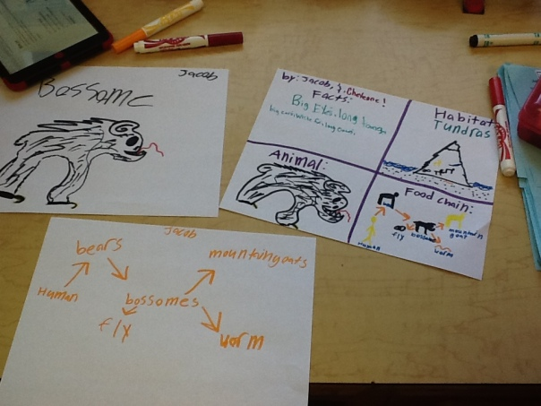 """Here is some visuals that a group has created  so far while they are """"discovering"""" their animal."""