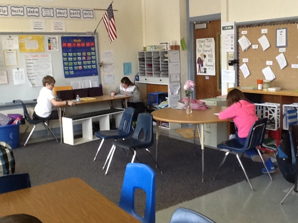 And . . . here are some SUPER hard-working mathematicians taking an assessment.
