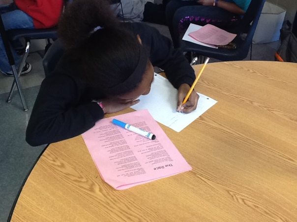 Here is one of our hardworking authors working on her Literary Essay.