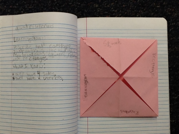 This is the foldable we are making to learn further about quadrilaterals.