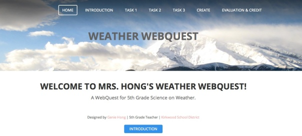 Here is the homepage of the WebQuest.