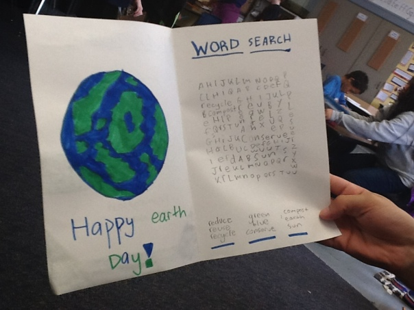 Look at this Earth Day card for a second grade learning buddy!