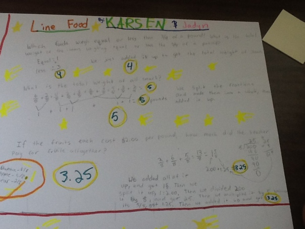 Here is one of the posters that was completed during math.