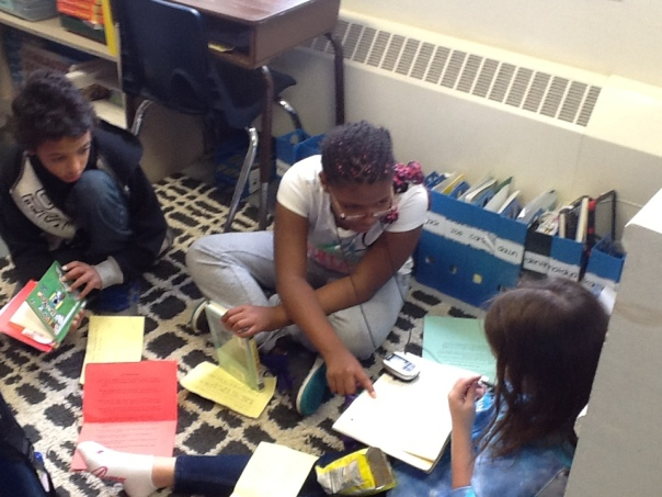 Here is another group discussing their book during the first book club meeting.