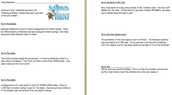 Here are the problems that the kids worked on during our math scavenger hunt.