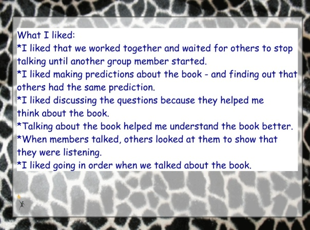We began a debrief with what we liked about the book club meeting.