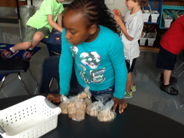 Leanna put her objects in bags that had 10 blocks in each.  What a smart thinker!