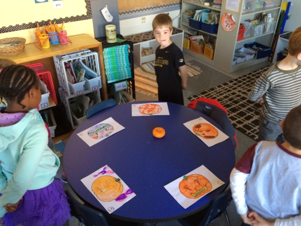 FIrst, we did a gallery walk so the children could see each of the pumpkin designs.