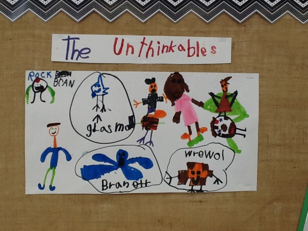 This adorable picture shows some of the learning we have been doing about The Unithinkables.  Cute, huh?