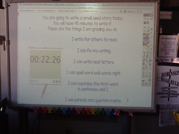 You can see the countdown as the children wrote their seed stories during our writing time.