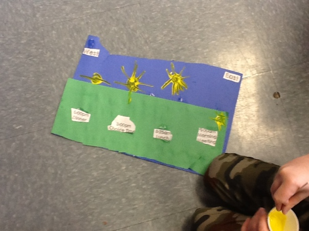 This is another example of the children showing the way the sun appears to move in the sky.