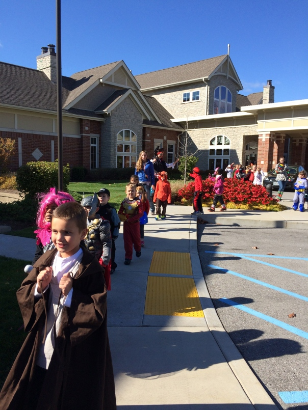 Here is our parade in front of Aberdeen Heights.
