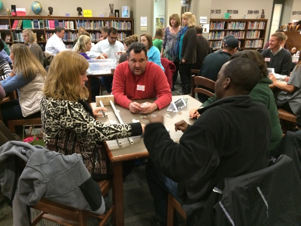 Here are some more parents working as a team during the design challenge at curriculum night.