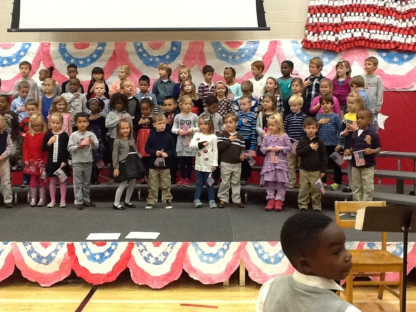 Our kindergarteners led us in the Pledge of Allegiance.