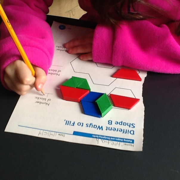 This mathematician was working hard with her pattern blocks too.