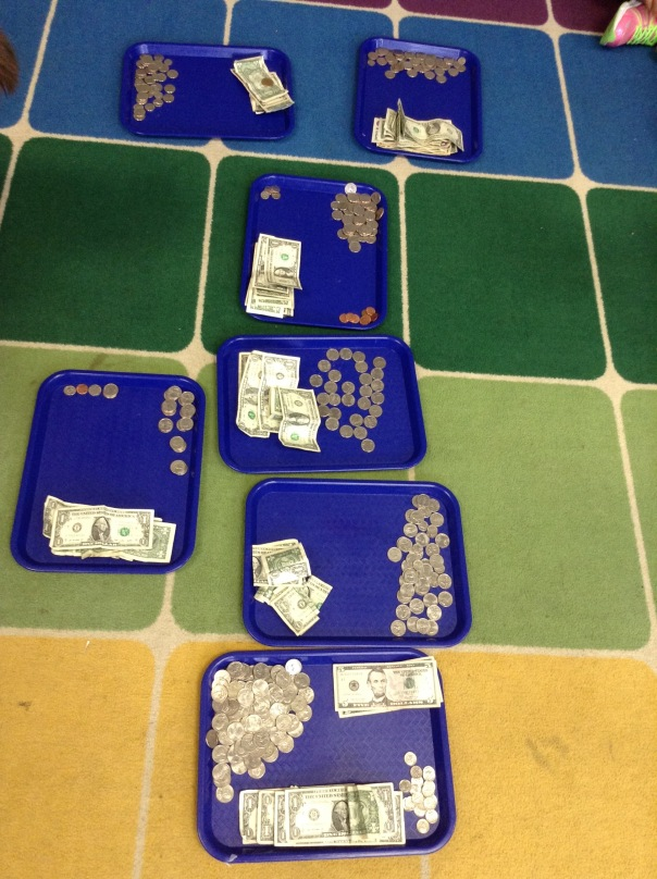 Then, we sorted our money into coins and bills.