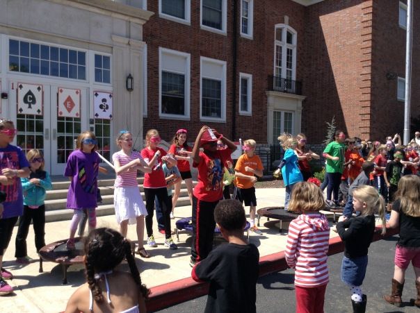 Our fifth graders led the entire school in a variety of dances in order to exercise simulatneously.