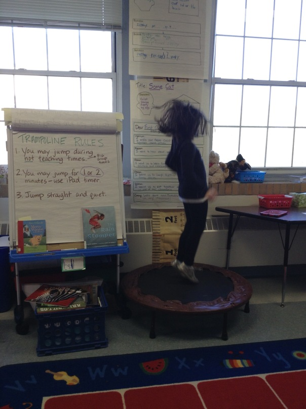 We got a trampoline in our classroom last week. It makes me smile to see jumpers in action!
