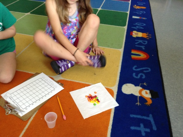 Here is one of our happy mathematicians with her Skittles - ready to sort and graph.