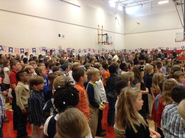 Look at all of the students as they watched our honored guests enter the gym.