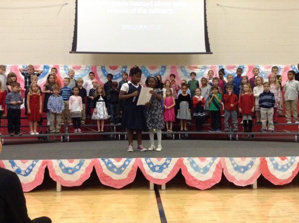 First grade did a spectacular job as they performed their song for their audience.