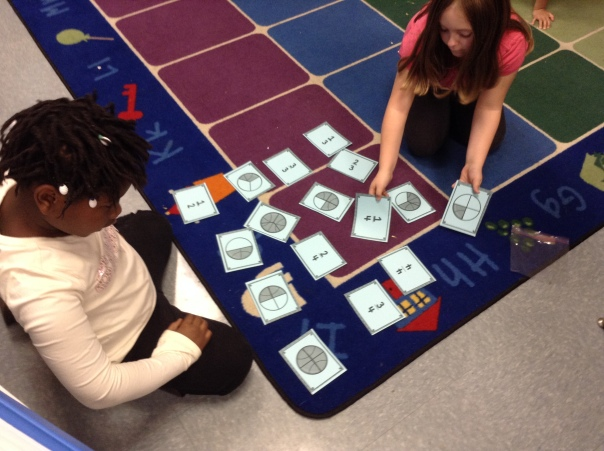 We even played fraction matching game! Yay for fractions!