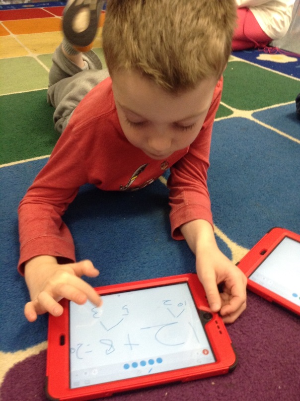 Trip worked on his iPad to show his math thinking.