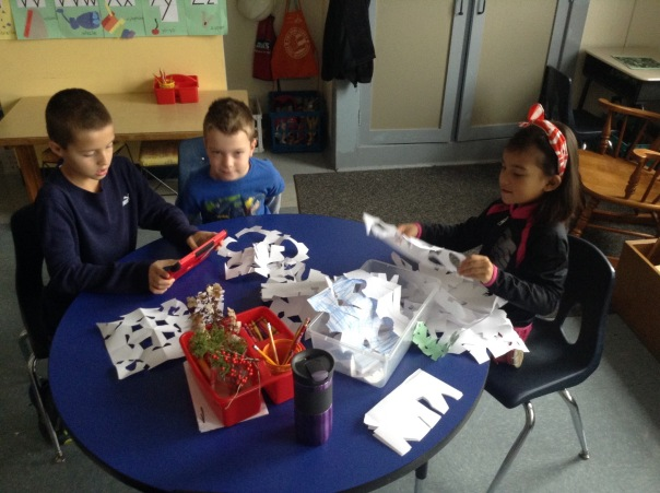 These first graders made snowflakes for our classroom sale.