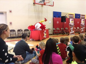 Fredbird was so silly he even rolled over a table!