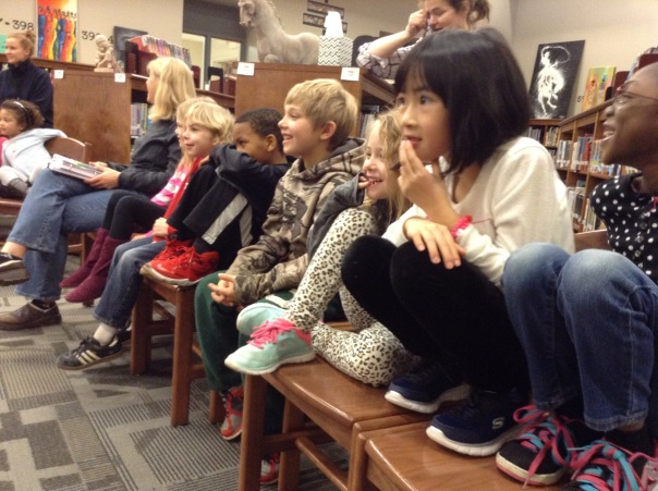 Look how excited these kids are to see our visiting author!