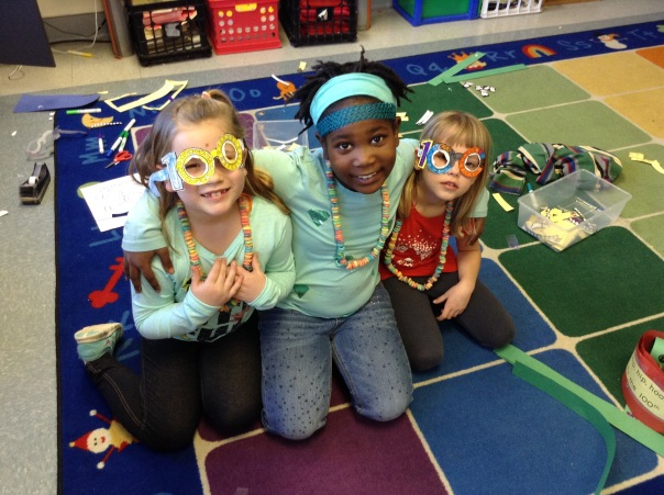 We made 100th day glasses too.