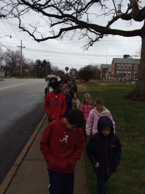We walked to Aberdeen Heights with our fourth grade Learning Buddies